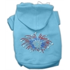 Mirage Pet Products Fireworks Rhinestone Hoodie Baby Blue XXXL(20)