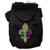 Mirage Pet Products Mardi Gras Fleur De Lis Rhinestone Hoodies Black XL (16)