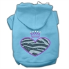 Mirage Pet Products Zebra Heart Rhinestone Hoodies Baby Blue XL (16)