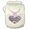 Mirage Pet Products Zebra Heart Rhinestone Hoodies Cream XXXL(20)