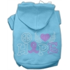 Mirage Pet Products Peace Love Hope Breast Cancer Rhinestone Pet Hoodie Baby Blue XS (8)