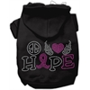 Mirage Pet Products Peace Love Hope Breast Cancer Rhinestone Pet Hoodie Black XL (16)