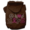 Mirage Pet Products Peace Love Hope Breast Cancer Rhinestone Pet Hoodie Brown XS (8)
