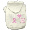 Mirage Pet Products Peace Love Hope Breast Cancer Rhinestone Pet Hoodie Cream XS (8)