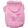 Mirage Pet Products Peace Love Hope Breast Cancer Rhinestone Pet Hoodie Light Pink XL (16)