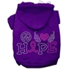 Mirage Pet Products Peace Love Hope Breast Cancer Rhinestone Pet Hoodie Purple Med (12)