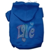 Mirage Pet Products Technicolor Love Rhinestone Pet Hoodie Blue Lg (14)
