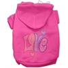 Mirage Pet Products Technicolor Love Rhinestone Pet Hoodie Bright Pink XXXL (20)