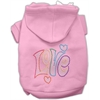 Mirage Pet Products Technicolor Love Rhinestone Pet Hoodie Light Pink Med (12)