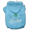 Mirage Pet Products Lucky Rhinestone Hoodies Baby Blue XXXL(20)
