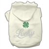 Mirage Pet Products Lucky Rhinestone Hoodies Cream XXXL(20)