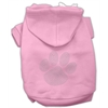Mirage Pet Products Clear Rhinestone Paw Hoodies Pink XXXL(20)