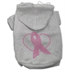 Mirage Pet Products Pink Ribbon Rhinestone Hoodies Grey XXXL(20)