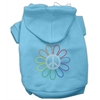 Mirage Pet Products Rhinestone Rainbow Flower Peace Sign Hoodie Baby Blue XXXL(20)