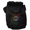 Mirage Pet Products Rhinestone Rainbow Flower Peace Sign Hoodie Black L (14)