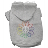 Mirage Pet Products Rhinestone Rainbow Flower Peace Sign Hoodie Grey XXXL(20)