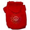 Mirage Pet Products Rhinestone Rainbow Flower Peace Sign Hoodie Red L (14)