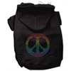 Mirage Pet Products Rhinestone Rainbow Peace Sign Hoodies Black XL (16)