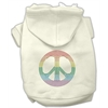 Mirage Pet Products Rhinestone Rainbow Peace Sign Hoodies Cream XXXL(20)