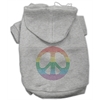 Mirage Pet Products Rhinestone Rainbow Peace Sign Hoodies Grey XXXL(20)