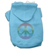 Mirage Pet Products Rhinestone Rainbow Peace Sign Hoodies Baby Blue XXXL(20)