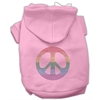 Mirage Pet Products Rhinestone Rainbow Peace Sign Hoodies Pink XL (16)