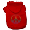 Mirage Pet Products Rhinestone Rainbow Peace Sign Hoodies Red XXL (18)