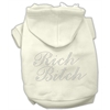 Mirage Pet Products Rich Bitch Rhinestone Hoodies Cream XXXL(20)