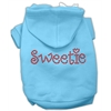 Mirage Pet Products Sweetie Rhinestone Hoodies Baby Blue XXXL(20)