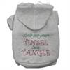 Mirage Pet Products Tinsel in a Tangle Rhinestone Hoodies Grey XXXL(20)
