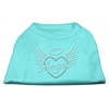 Mirage Pet Products Angel Heart Rhinestone Dog Shirt Aqua XXXL (20)
