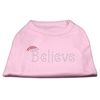 Mirage Pet Products Believe Rhinestone Shirts Light Pink XXXL(20)