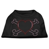 Mirage Pet Products Heart and Crossbones Rhinestone Shirts Black XXXL(20)