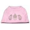 Mirage Pet Products Christmas Cupcakes Rhinestone Shirt Light Pink XXXL(20)