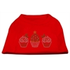 Mirage Pet Products Christmas Cupcakes Rhinestone Shirt Red XXXL(20)