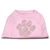 Mirage Pet Products Holiday Paw Rhinestone Shirts Light Pink XXXL(20)