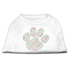 Mirage Pet Products Holiday Paw Rhinestone Shirts White XL (16)
