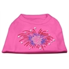 Mirage Pet Products Fireworks Rhinestone Shirt Bright Pink XXXL(20)