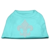 Mirage Pet Products Silver Fleur de lis Rhinestone Shirts Aqua XXXL(20)