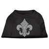 Mirage Pet Products Silver Fleur de lis Rhinestone Shirts Black XXXL(20)