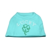 Mirage Pet Products Four Leaf Clover Outline Rhinestone Shirts Aqua XXL (18)