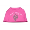 Mirage Pet Products Four Leaf Clover Outline Rhinestone Shirts Bright Pink XL (16)