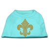 Mirage Pet Products Gold Fleur De Lis Rhinestone Shirts Aqua XS (8)