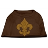 Mirage Pet Products Gold Fleur de Lis Rhinestone Shirts Brown Med (12)