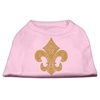 Mirage Pet Products Gold Fleur De Lis Rhinestone Shirts Light Pink XXXL(20)