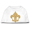 Mirage Pet Products Gold Fleur De Lis Rhinestone Shirts White XXXL(20)