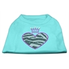 Mirage Pet Products Zebra Heart Rhinestone Dog Shirt Aqua XL (16)
