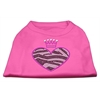 Mirage Pet Products Zebra Heart Rhinestone Dog Shirt Bright Pink Med (12)