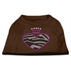 Mirage Pet Products Zebra Heart Rhinestone Dog Shirt Brown Med (12)