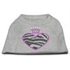 Mirage Pet Products Zebra Heart Rhinestone Dog Shirt Grey XXL (18)
